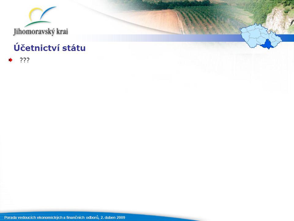 Porada vedoucích ekonomických a finančních odborů, 2. duben 2009 Účetnictví státu ???