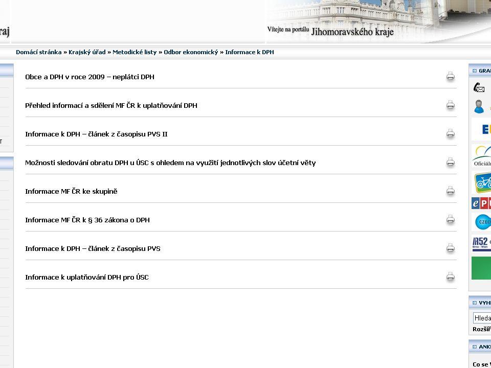 Porada vedoucích ekonomických a finančních odborů, 2. duben 2009 Metodika k DPH