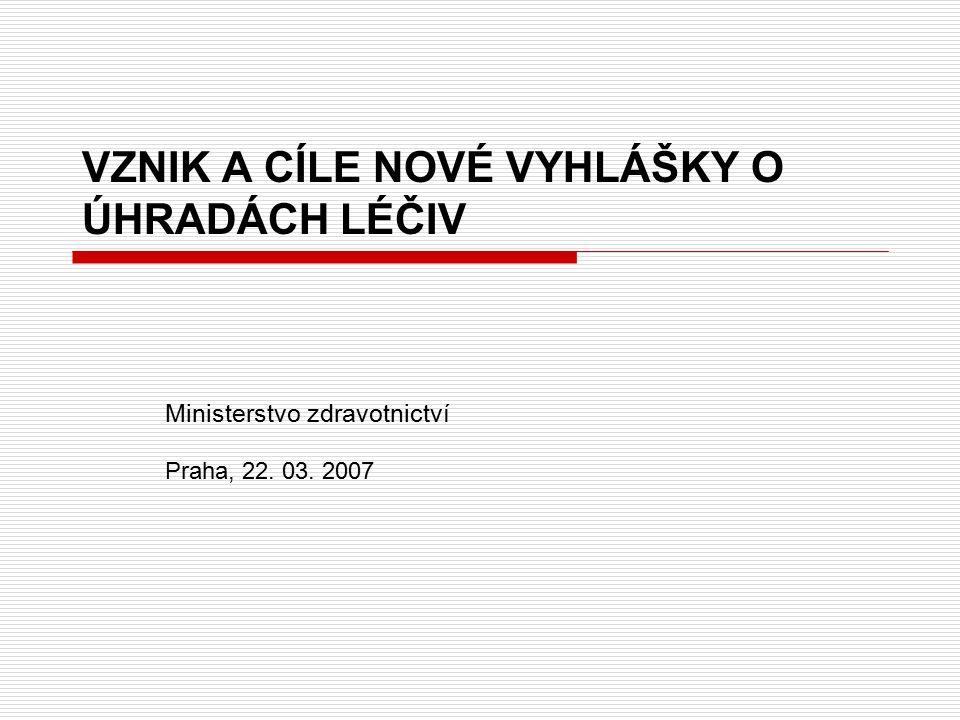 VZNIK A CÍLE NOVÉ VYHLÁŠKY O ÚHRADÁCH LÉČIV Ministerstvo zdravotnictví Praha, 22. 03. 2007