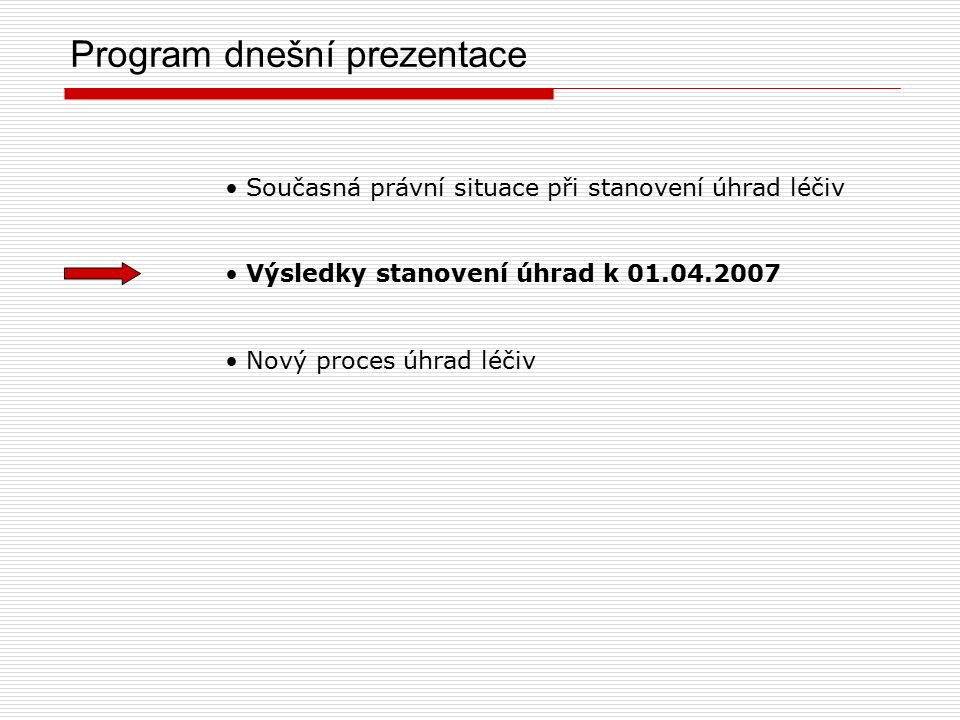 Program dnešní prezentace Současná právní situace při stanovení úhrad léčiv Výsledky stanovení úhrad k 01.04.2007 Nový proces úhrad léčiv