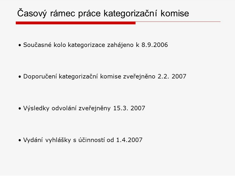 Časový rámec práce kategorizační komise Současné kolo kategorizace zahájeno k 8.9.2006 Doporučení kategorizační komise zveřejněno 2.2.