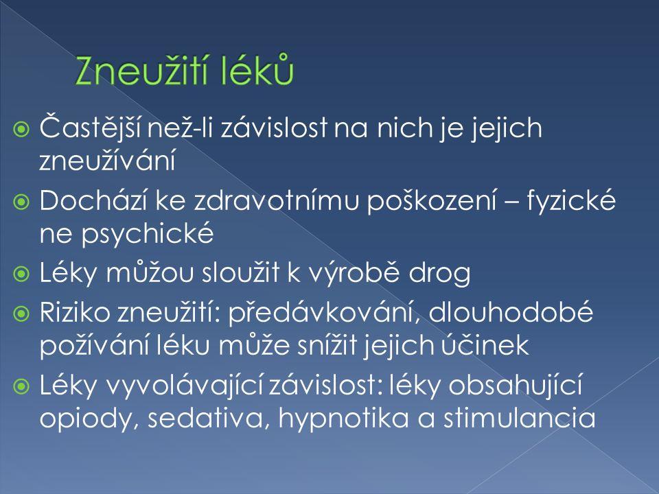  Častější než-li závislost na nich je jejich zneužívání  Dochází ke zdravotnímu poškození – fyzické ne psychické  Léky můžou sloužit k výrobě drog  Riziko zneužití: předávkování, dlouhodobé požívání léku může snížit jejich účinek  Léky vyvolávající závislost: léky obsahující opiody, sedativa, hypnotika a stimulancia