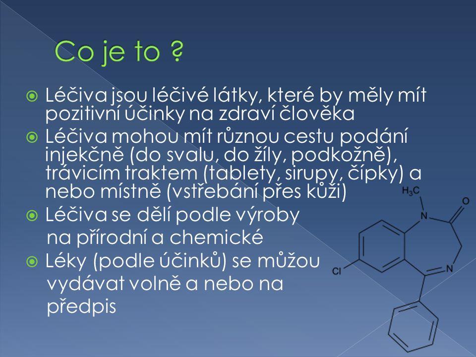  Léčiva jsou léčivé látky, které by měly mít pozitivní účinky na zdraví člověka  Léčiva mohou mít různou cestu podání injekčně (do svalu, do žíly, podkožně), trávicím traktem (tablety, sirupy, čípky) a nebo místně (vstřebání přes kůži)  Léčiva se dělí podle výroby na přírodní a chemické  Léky (podle účinků) se můžou vydávat volně a nebo na předpis