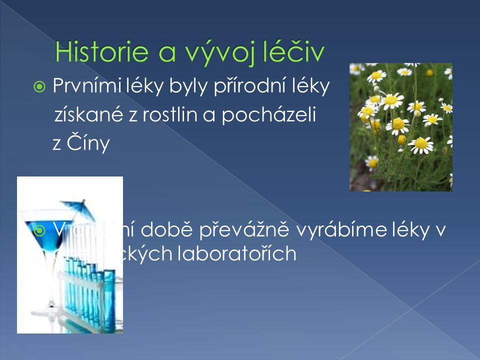  Prvními léky byly přírodní léky získané z rostlin a pocházeli z Číny  V dnešní době převážně vyrábíme léky v chemických laboratořích