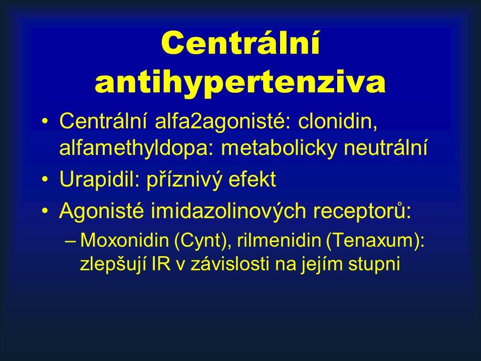 Centrální antihypertenziva Centrální alfa2agonisté: clonidin, alfamethyldopa: metabolicky neutrální Urapidil: příznivý efekt Agonisté imidazolinových receptorů: –Moxonidin (Cynt), rilmenidin (Tenaxum): zlepšují IR v závislosti na jejím stupni