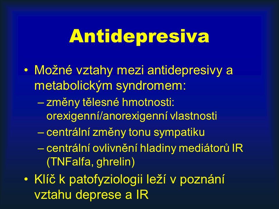 Antidepresiva Možné vztahy mezi antidepresivy a metabolickým syndromem: –změny tělesné hmotnosti: orexigenní/anorexigenní vlastnosti –centrální změny tonu sympatiku –centrální ovlivnění hladiny mediátorů IR (TNFalfa, ghrelin) Klíč k patofyziologii leží v poznání vztahu deprese a IR