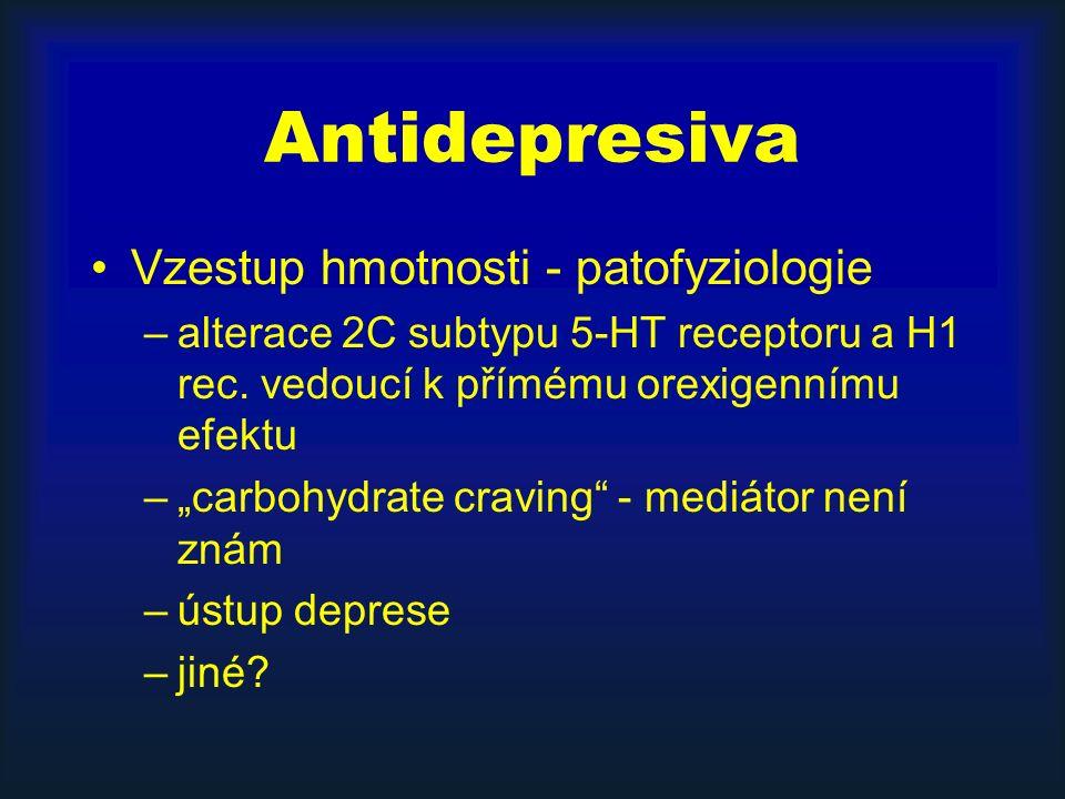 """Antidepresiva Vzestup hmotnosti - patofyziologie –alterace 2C subtypu 5-HT receptoru a H1 rec. vedoucí k přímému orexigennímu efektu –""""carbohydrate cr"""