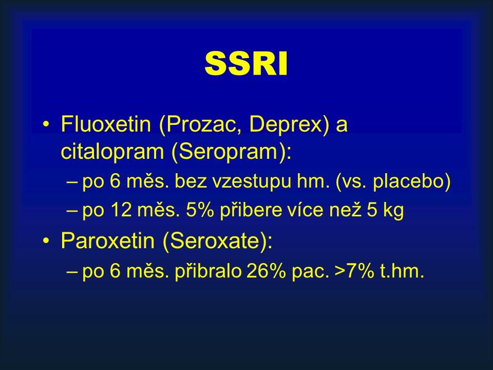 SSRI Fluoxetin (Prozac, Deprex) a citalopram (Seropram): –po 6 měs. bez vzestupu hm. (vs. placebo) –po 12 měs. 5% přibere více než 5 kg Paroxetin (Ser