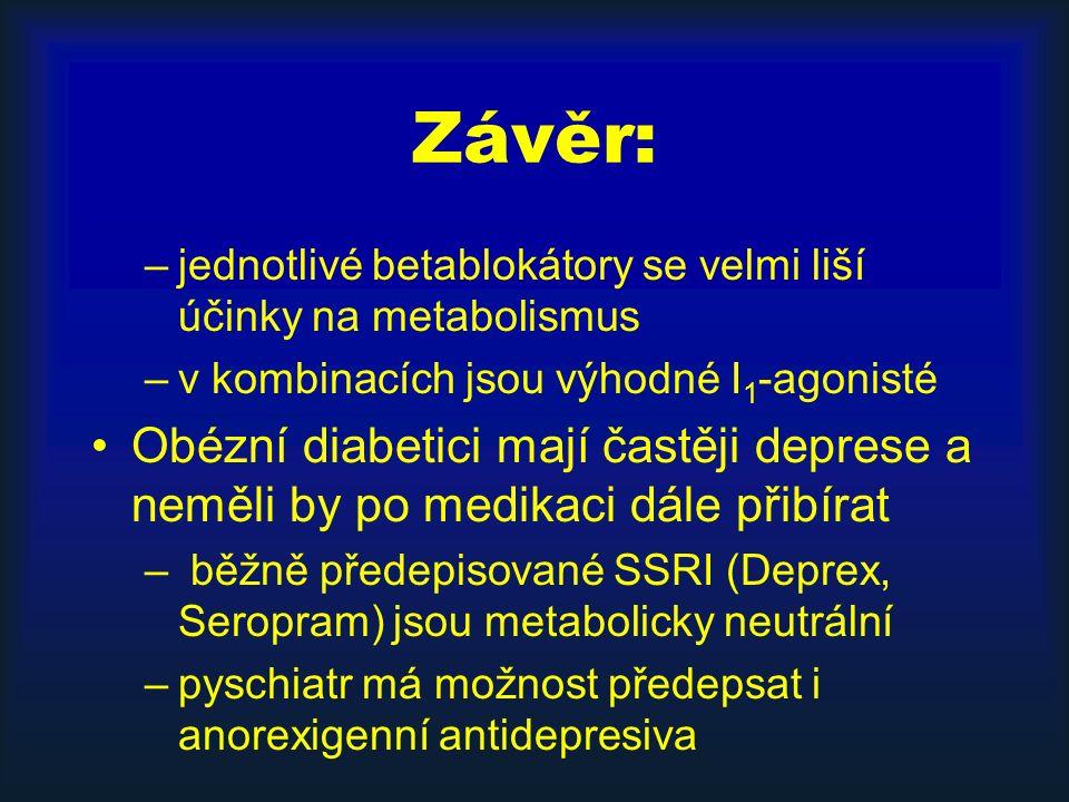 Závěr: –jednotlivé betablokátory se velmi liší účinky na metabolismus –v kombinacích jsou výhodné I 1 -agonisté Obézní diabetici mají častěji deprese a neměli by po medikaci dále přibírat – běžně předepisované SSRI (Deprex, Seropram) jsou metabolicky neutrální –pyschiatr má možnost předepsat i anorexigenní antidepresiva