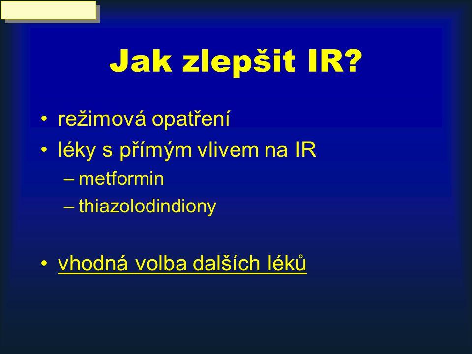 Jak zlepšit IR? režimová opatření léky s přímým vlivem na IR –metformin –thiazolodindiony vhodná volba dalších léků