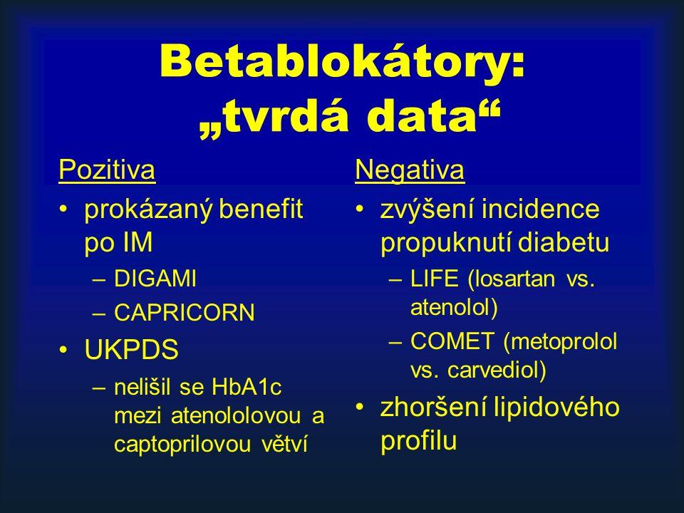 """Betablokátory: """"tvrdá data"""" Pozitiva prokázaný benefit po IM –DIGAMI –CAPRICORN UKPDS –nelišil se HbA1c mezi atenololovou a captoprilovou větví Negati"""
