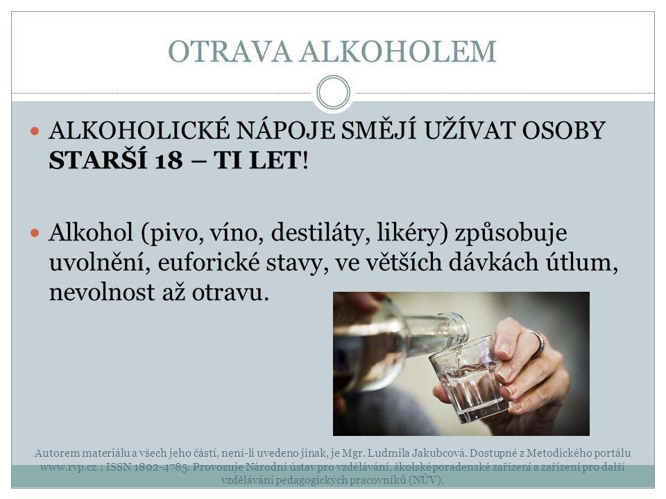 OTRAVA ALKOHOLEM Autorem materiálu a všech jeho částí, není-li uvedeno jinak, je Mgr.