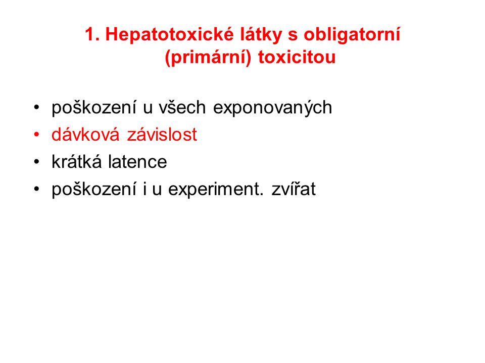 1. Hepatotoxické látky s obligatorní (primární) toxicitou poškození u všech exponovaných dávková závislost krátká latence poškození i u experiment. zv