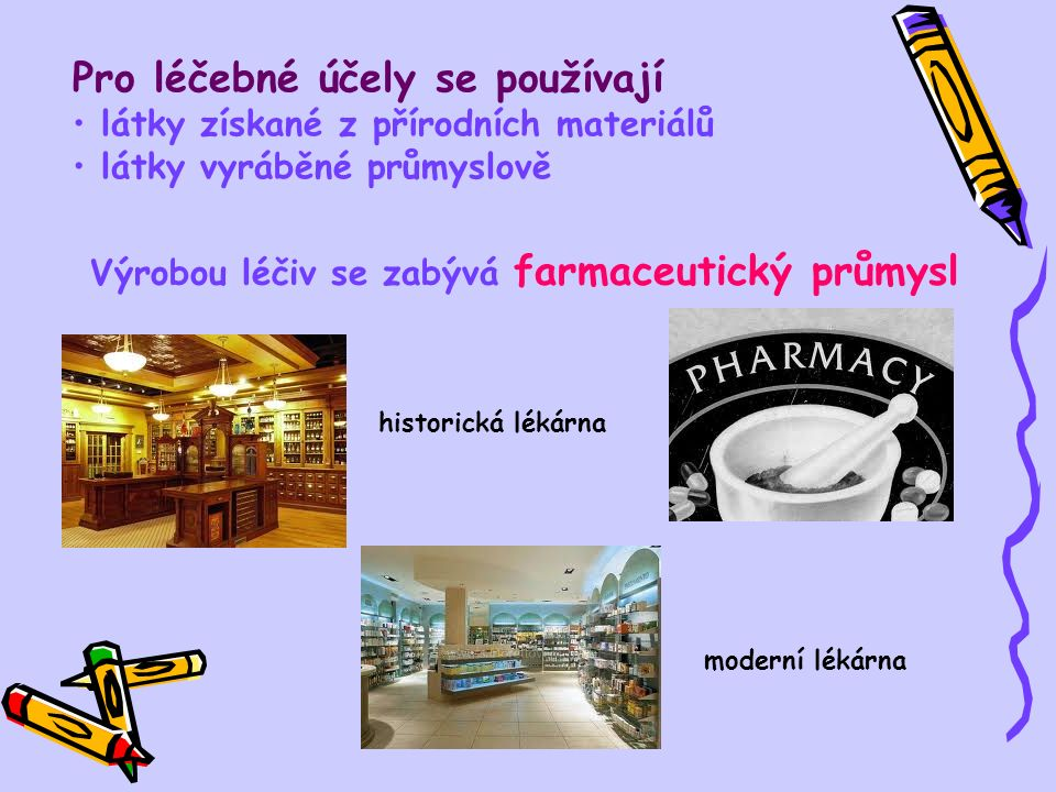Pro léčebné účely se používají látky získané z přírodních materiálů látky vyráběné průmyslově Výrobou léčiv se zabývá farmaceutický průmysl historická lékárna moderní lékárna