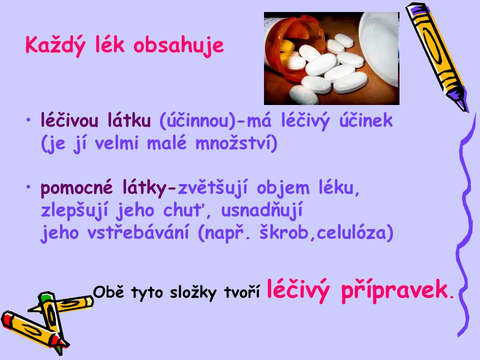 Každý lék obsahuje léčivou látku (účinnou)-má léčivý účinek (je jí velmi malé množství) pomocné látky-zvětšují objem léku, zlepšují jeho chuť, usnadňují jeho vstřebávání (např.