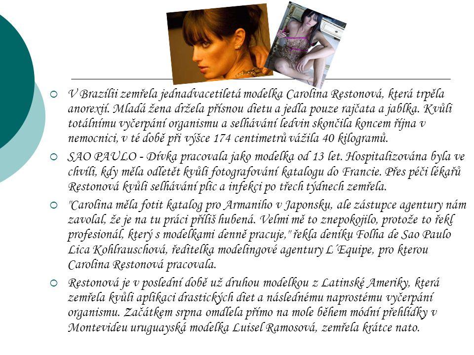 VV Brazílii zemřela jednadvacetiletá modelka Carolina Restonová, která trpěla anorexií.