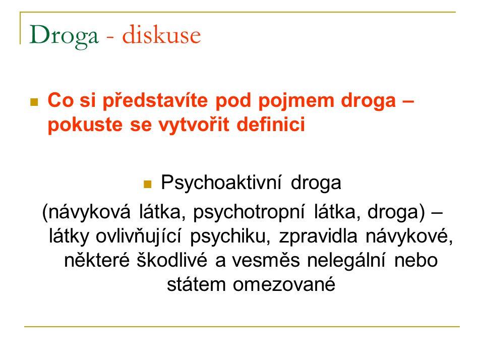 Dělení drog – legální drogy alkohol tabák léky  hypnotika  anabolika  analgetika těkavé látky - toluen a jiná průmyslová rozpouštědla