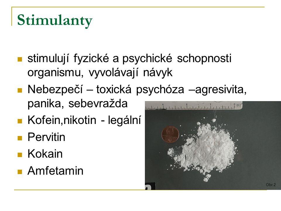 Opiáty tlumí bolest, úzkost nebo depresi, vyvolávají návyk heroin, morfin, kodein nebezpečí  rychlý rozvoj fyzické závislosti,  injekční aplikace  možné předávkování  těžké abstinenční příznaky Obr.3