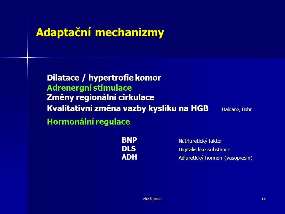 Plzeň 200814 Adaptační mechanizmy Dilatace / hypertrofie komor Adrenergní stimulace Změny regionální cirkulace Kvalitativní změna vazby kyslíku na HGB Haldane, Bohr Hormonální regulace BNP Natriuretický faktor DLS Digitalis like substance ADH Adiuretický hormon (vasopresin)