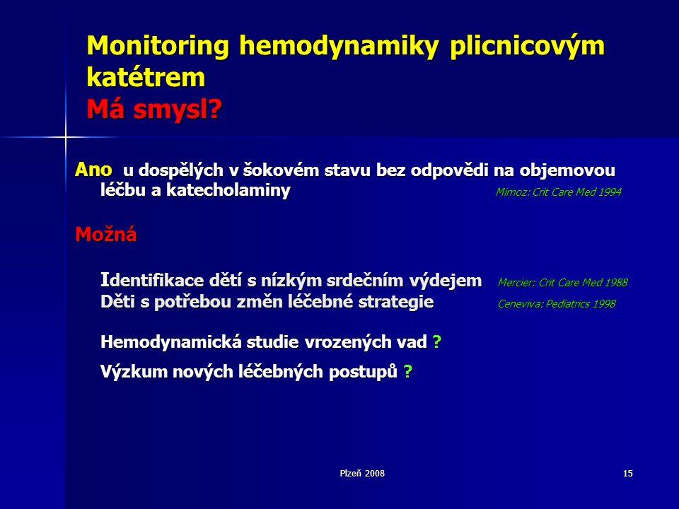 Plzeň 200815 Monitoring hemodynamiky plicnicovým katétrem Má smysl.