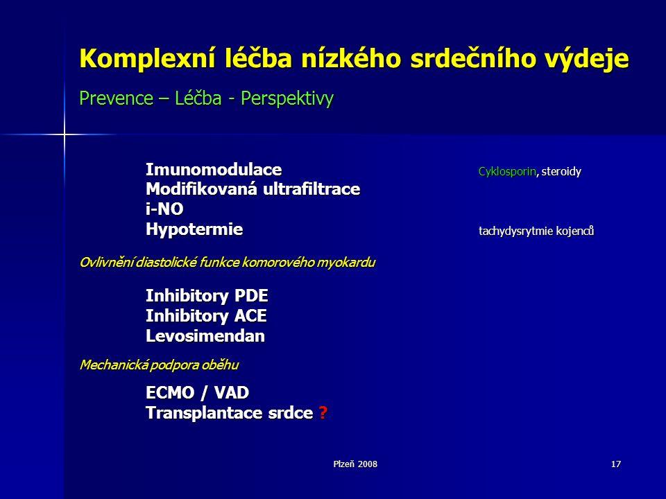 Plzeň 200817 Komplexní léčba nízkého srdečního výdeje Prevence – Léčba - Perspektivy Imunomodulace Cyklosporin, steroidy Modifikovaná ultrafiltrace i-NO Hypotermie tachydysrytmie kojenců Ovlivnění diastolické funkce komorového myokardu Inhibitory PDE Inhibitory PDE Inhibitory ACE Levosimendan Mechanická podpora oběhu ECMO / VAD Transplantace srdce