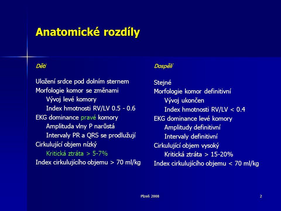 Plzeň 20082 Anatomické rozdíly Děti Uložení srdce pod dolním sternem Morfologie komor se změnami Vývoj levé komory Index hmotnosti RV/LV 0.5 - 0.6 EKG dominance pravé komory Amplituda vlny P narůstá Intervaly PR a QRS se prodlužují Cirkulující objem nízký Kritická ztráta > 5-7% Index cirkulujícího objemu > 70 ml/kg Dospělí Stejné Morfologie komor definitivní Vývoj ukončen Index hmotnosti RV/LV < 0.4 EKG dominance levé komory Amplitudy definitivní Intervaly definitivní Cirkulující objem vysoký Kritická ztráta > 15-20% Index cirkulujícího objemu < 70 ml/kg