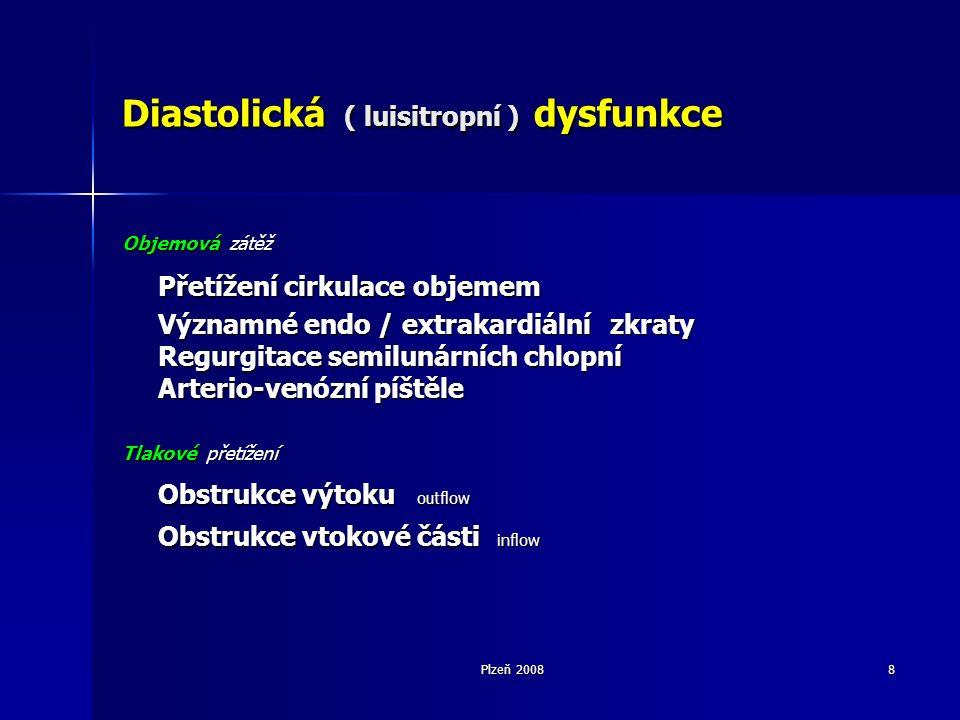 Plzeň 20088 Diastolická ( luisitropní ) dysfunkce Objemová zátěž Přetížení cirkulace objemem Významné endo / extrakardiální zkraty Regurgitace semilunárních chlopní Arterio-venózní píštěle Tlakové přetížení Obstrukce výtoku outflow Obstrukce vtokové části inflow