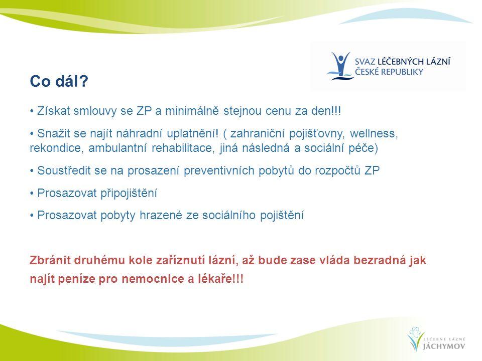 Získat smlouvy se ZP a minimálně stejnou cenu za den!!! Snažit se najít náhradní uplatnění! ( zahraniční pojišťovny, wellness, rekondice, ambulantní r