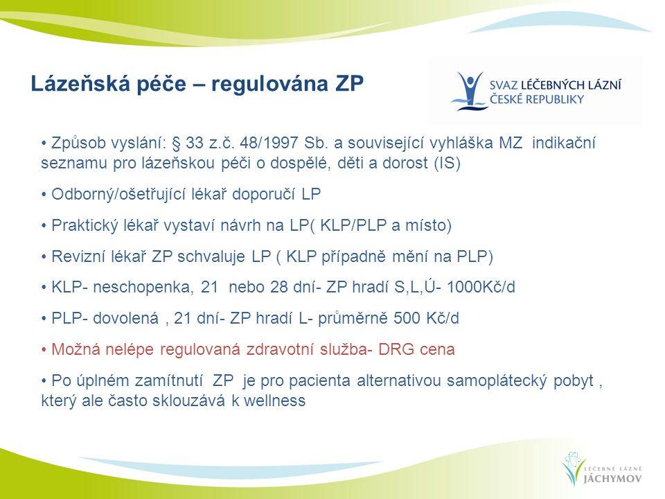 Lázeňská péče – regulována ZP Způsob vyslání: § 33 z.č. 48/1997 Sb. a související vyhláška MZ indikační seznamu pro lázeňskou péči o dospělé, děti a d