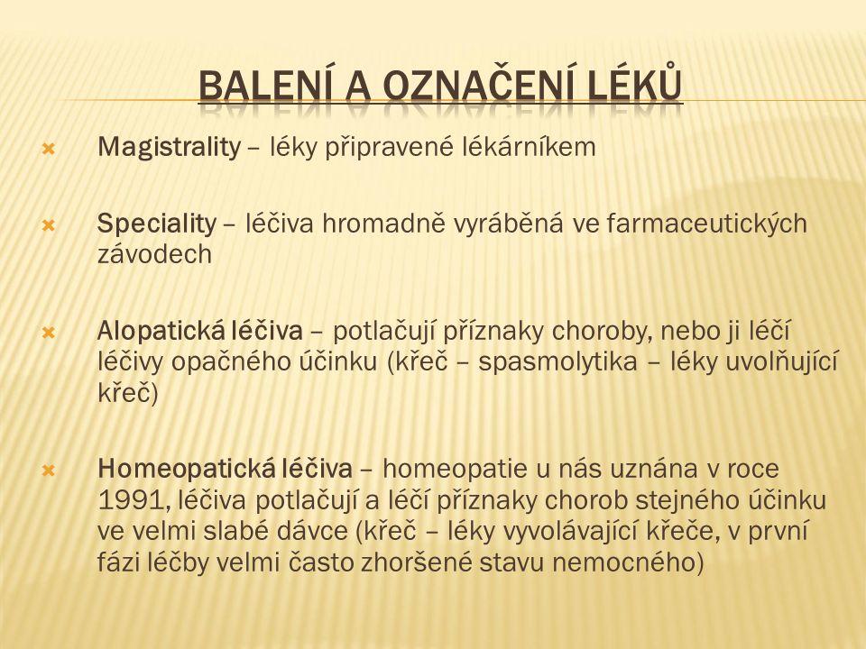  Magistrality – léky připravené lékárníkem  Speciality – léčiva hromadně vyráběná ve farmaceutických závodech  Alopatická léčiva – potlačují příznaky choroby, nebo ji léčí léčivy opačného účinku (křeč – spasmolytika – léky uvolňující křeč)  Homeopatická léčiva – homeopatie u nás uznána v roce 1991, léčiva potlačují a léčí příznaky chorob stejného účinku ve velmi slabé dávce (křeč – léky vyvolávající křeče, v první fázi léčby velmi často zhoršené stavu nemocného)