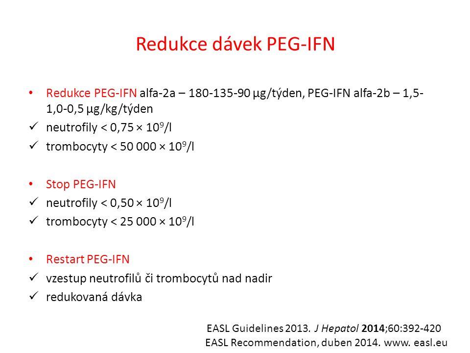 Redukce dávek PEG-IFN Redukce PEG-IFN alfa-2a – 180-135-90 µg/týden, PEG-IFN alfa-2b – 1,5- 1,0-0,5 µg/kg/týden neutrofily < 0,75 × 10 9 /l trombocyty < 50 000 × 10 9 /l Stop PEG-IFN neutrofily < 0,50 × 10 9 /l trombocyty < 25 000 × 10 9 /l Restart PEG-IFN vzestup neutrofilů či trombocytů nad nadir redukovaná dávka EASL Guidelines 2013.