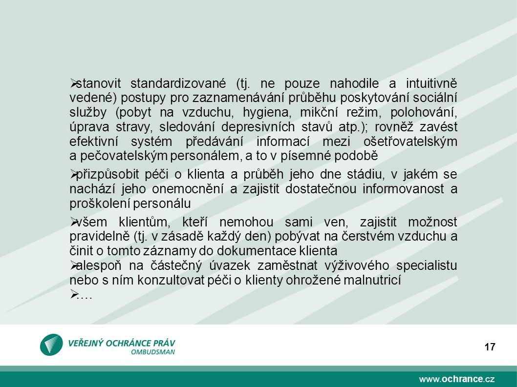 www.ochrance.cz 17  stanovit standardizované (tj.