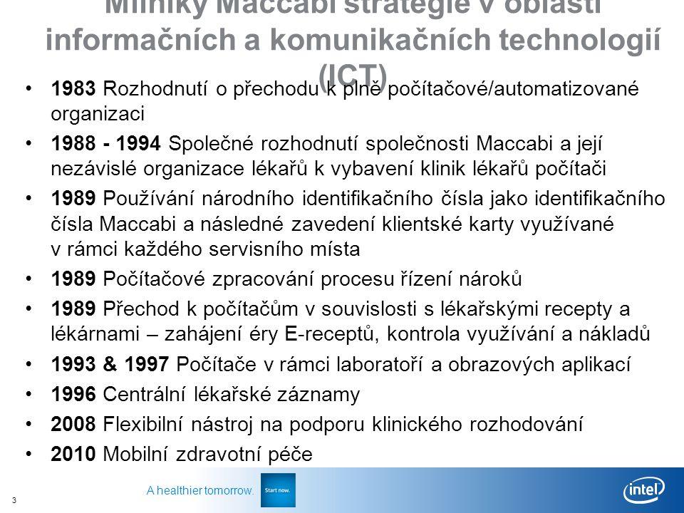 3 A healthier tomorrow. Milníky Maccabi strategie v oblasti informačních a komunikačních technologií (ICT) 1983 Rozhodnutí o přechodu k plně počítačov