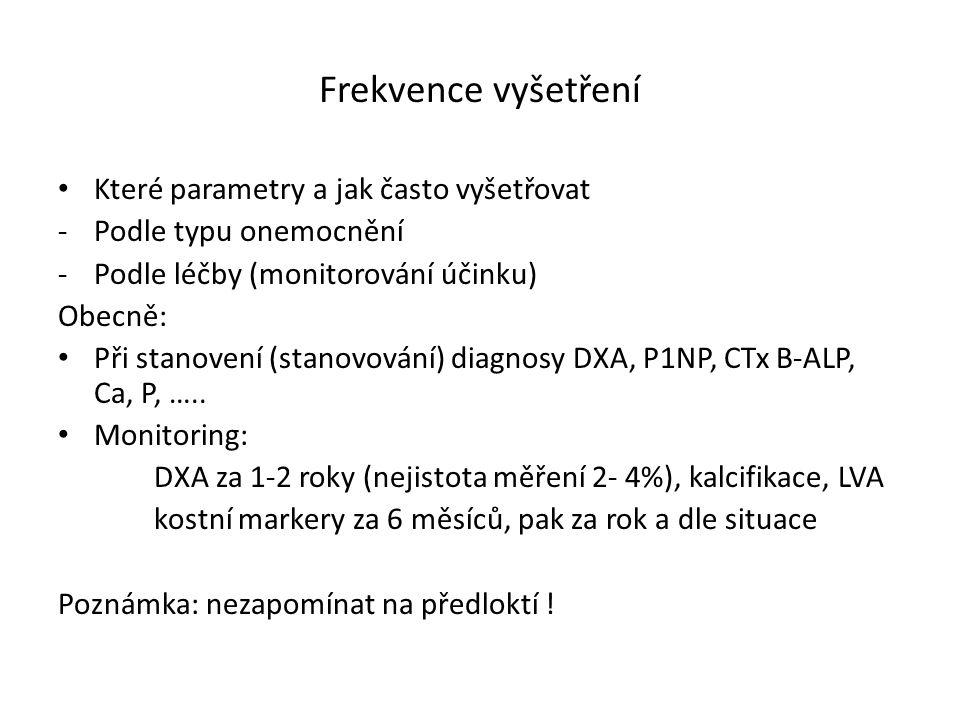 Frekvence vyšetření Které parametry a jak často vyšetřovat -Podle typu onemocnění -Podle léčby (monitorování účinku) Obecně: Při stanovení (stanovování) diagnosy DXA, P1NP, CTx B-ALP, Ca, P, …..