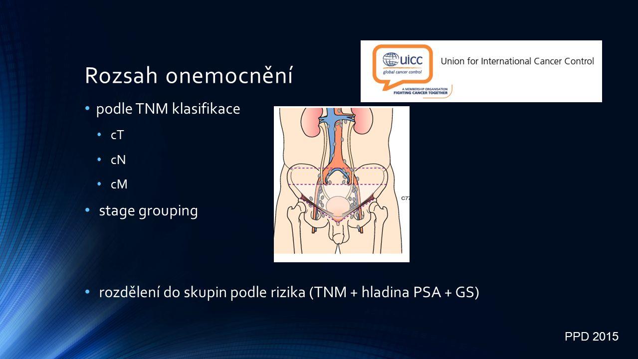 Rozsah onemocnění podle TNM klasifikace cT cN cM stage grouping rozdělení do skupin podle rizika (TNM + hladina PSA + GS) PPD 2015