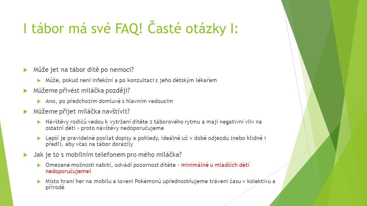 I tábor má své FAQ. Časté otázky I:  Může jet na tábor dítě po nemoci.
