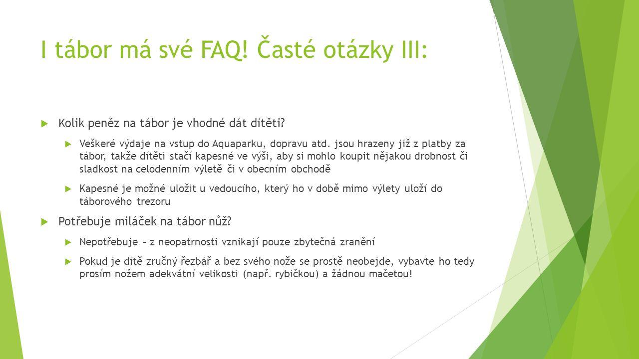 I tábor má své FAQ. Časté otázky III:  Kolik peněz na tábor je vhodné dát dítěti.