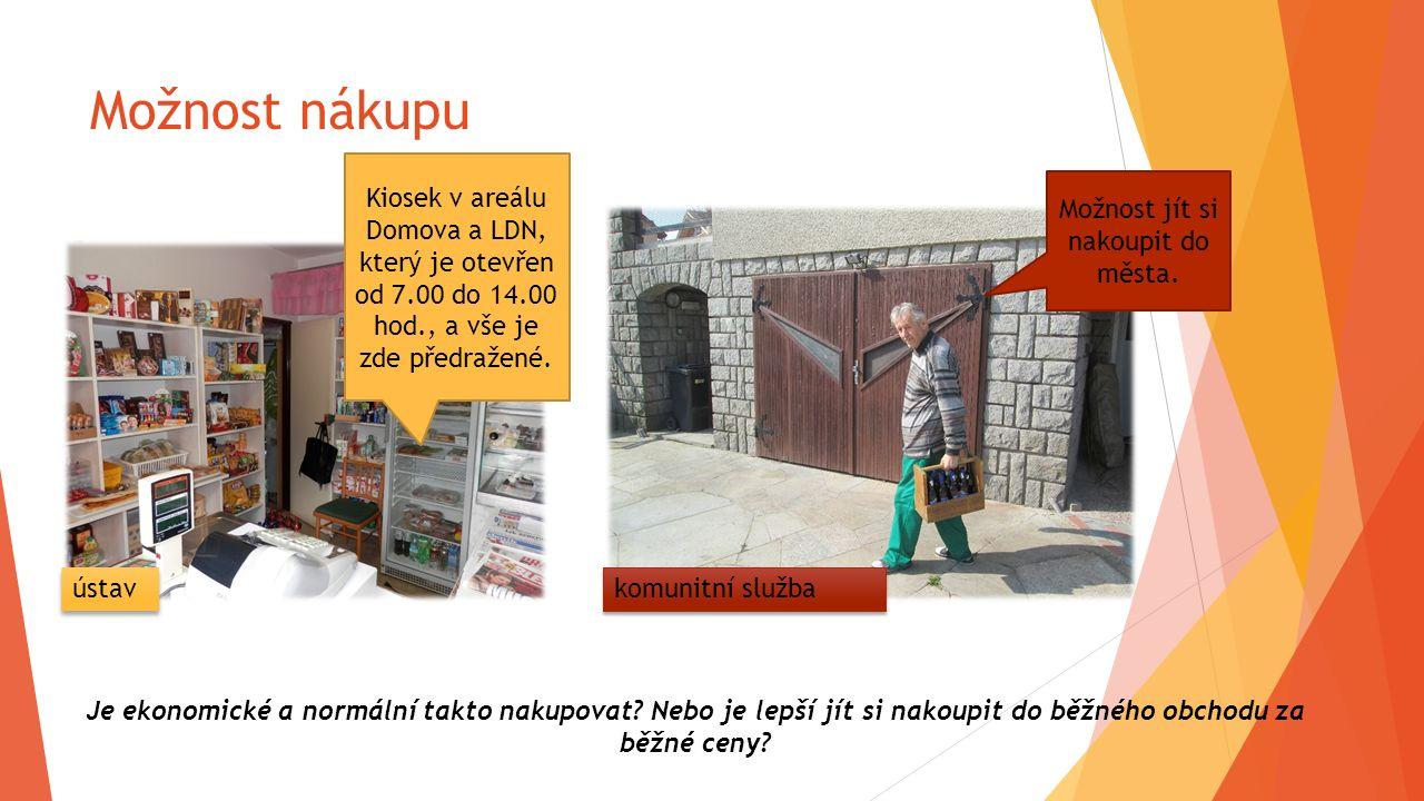 Možnost nákupu Kiosek v areálu Domova a LDN, který je otevřen od 7.00 do 14.00 hod., a vše je zde předražené. Možnost jít si nakoupit do města. Je eko