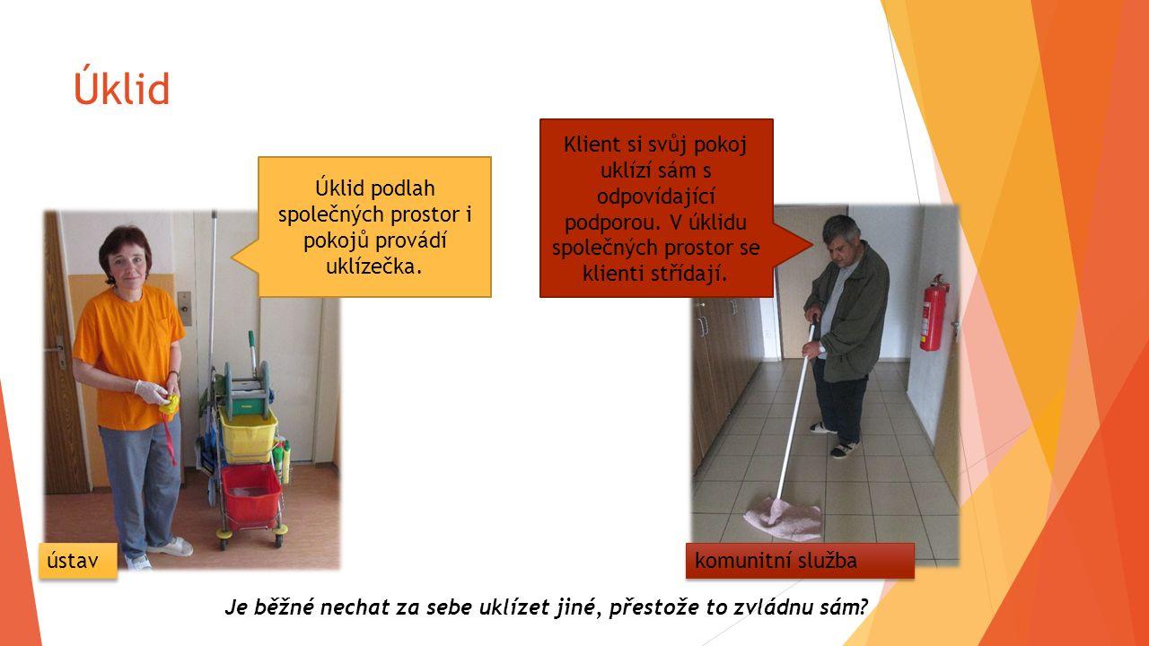 Úklid Úklid podlah společných prostor i pokojů provádí uklízečka. Klient si svůj pokoj uklízí sám s odpovídající podporou. V úklidu společných prostor