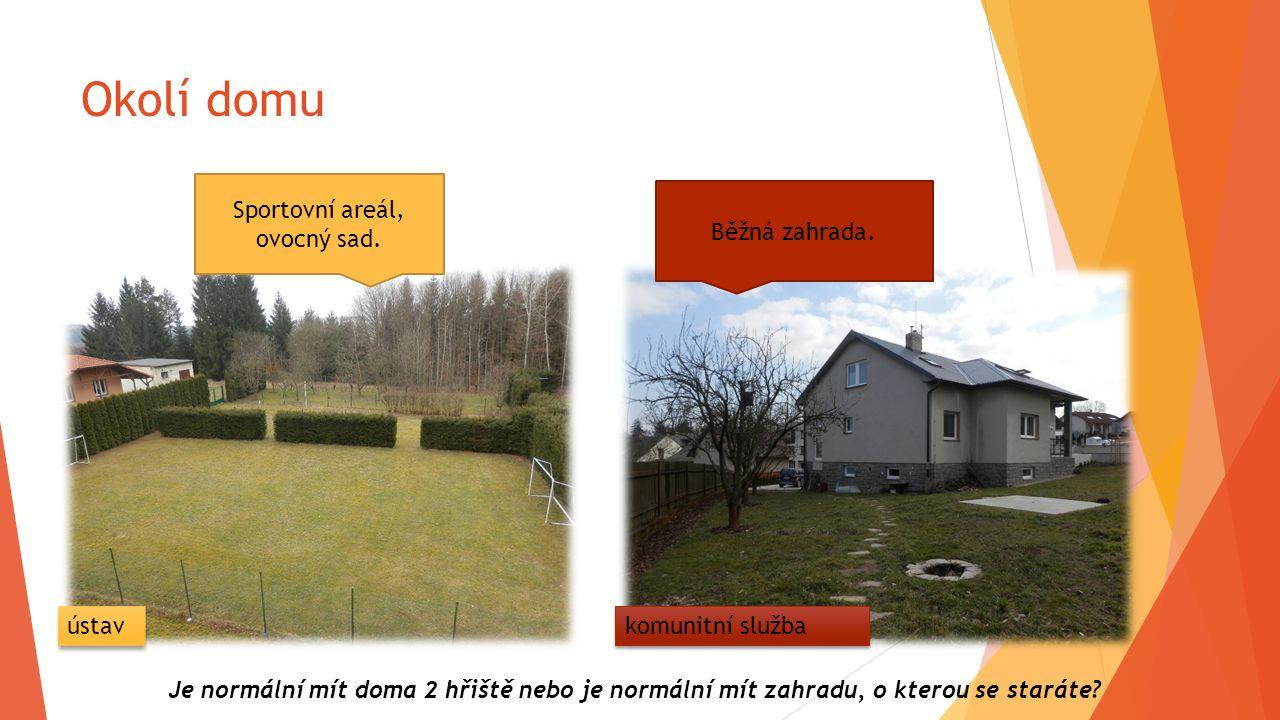 Okolí domu Sportovní areál, ovocný sad. Běžná zahrada. Je normální mít doma 2 hřiště nebo je normální mít zahradu, o kterou se staráte? ústav komunitn