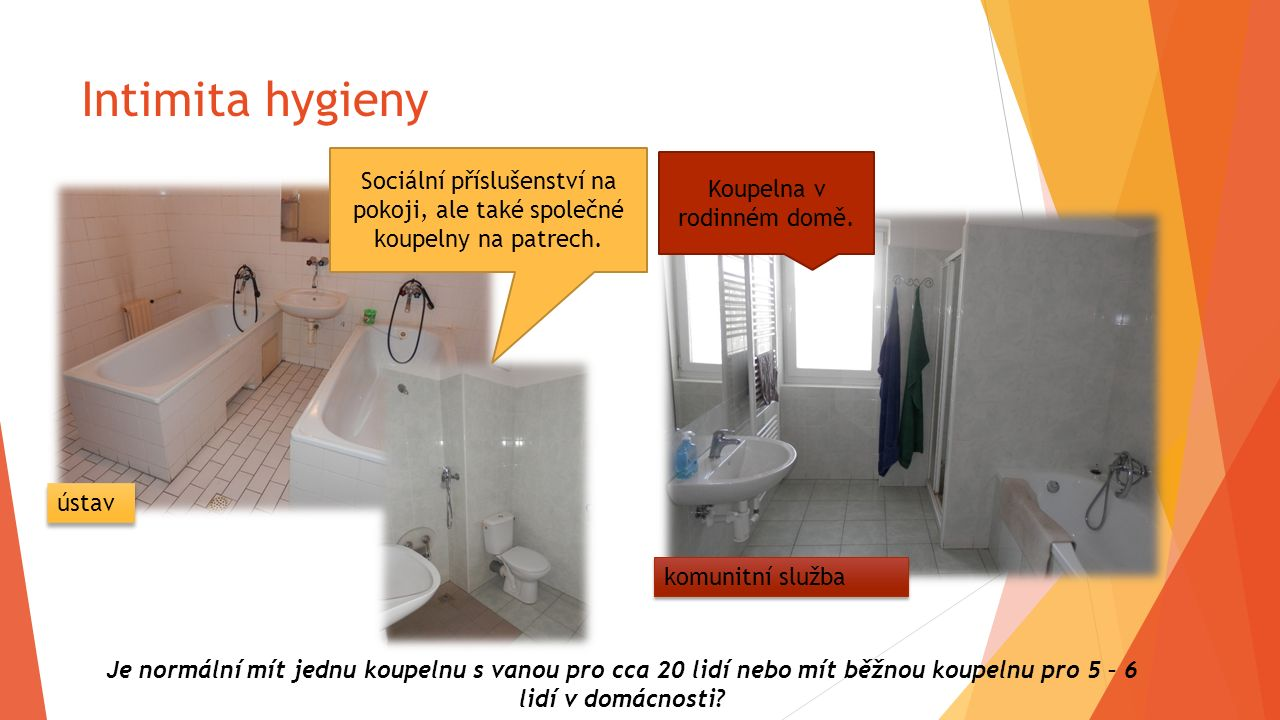 Intimita hygieny Sociální příslušenství na pokoji, ale také společné koupelny na patrech. Koupelna v rodinném domě. Je normální mít jednu koupelnu s v