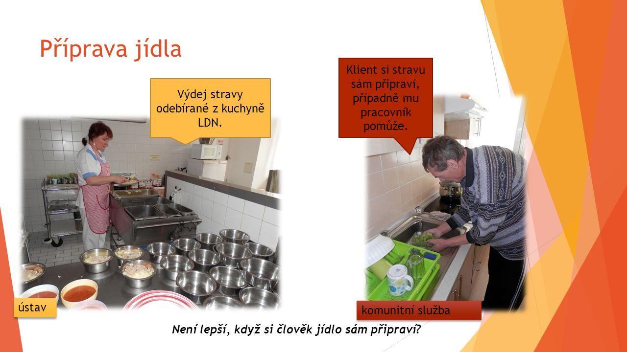 Příprava jídla Výdej stravy odebírané z kuchyně LDN. Klient si stravu sám připraví, případně mu pracovník pomůže. Není lepší, když si člověk jídlo sám
