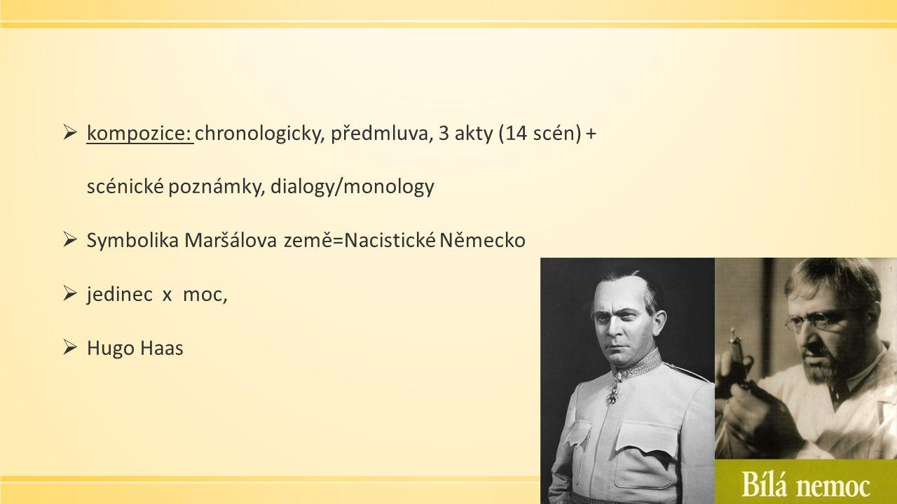  kompozice: chronologicky, předmluva, 3 akty (14 scén) + scénické poznámky, dialogy/monology  Symbolika Maršálova země=Nacistické Německo  jedinec x moc,  Hugo Haas