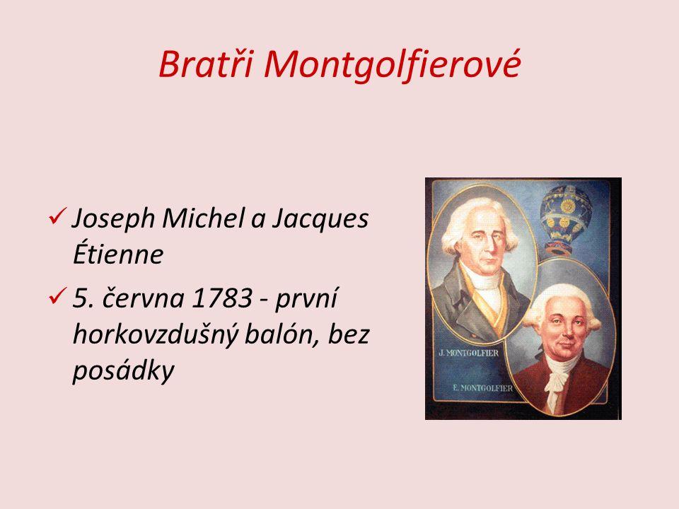 Bratři Montgolfierové Joseph Michel a Jacques Étienne 5. června 1783 - první horkovzdušný balón, bez posádky