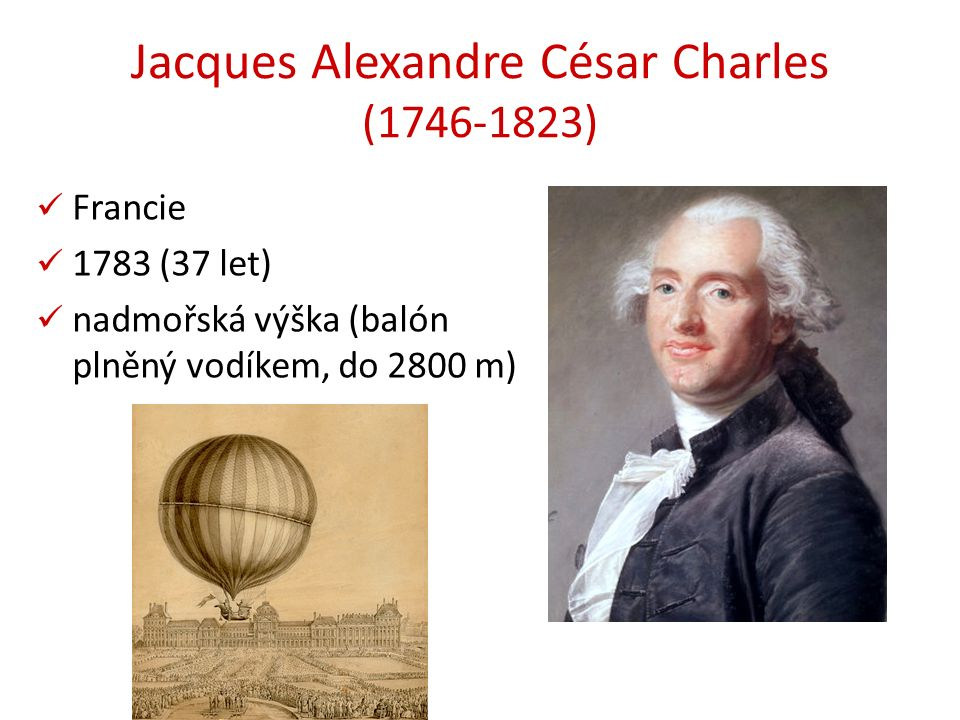 Jacques Alexandre César Charles (1746-1823) Francie 1783 (37 let) nadmořská výška (balón plněný vodíkem, do 2800 m)