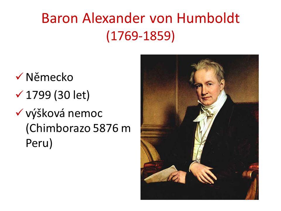 Baron Alexander von Humboldt (1769-1859) Německo 1799 (30 let) výšková nemoc (Chimborazo 5876 m Peru)