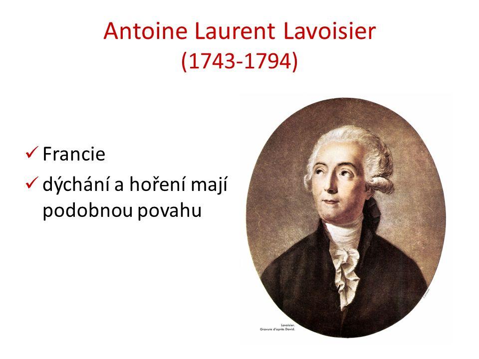 Antoine Laurent Lavoisier (1743-1794) Francie dýchání a hoření mají podobnou povahu