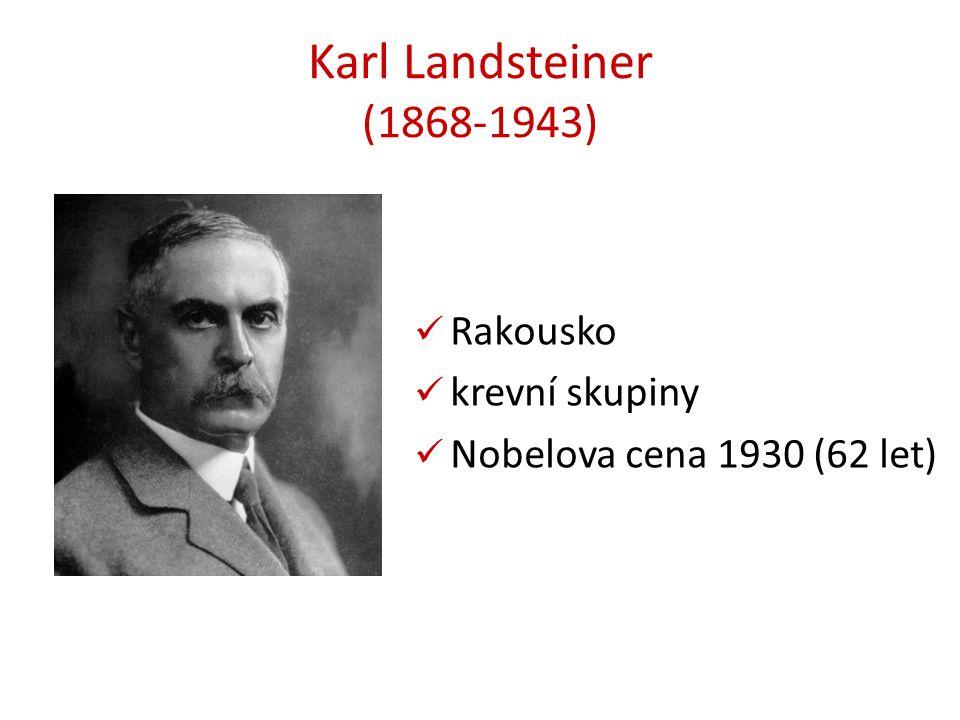 Karl Landsteiner (1868-1943) Rakousko krevní skupiny Nobelova cena 1930 (62 let)