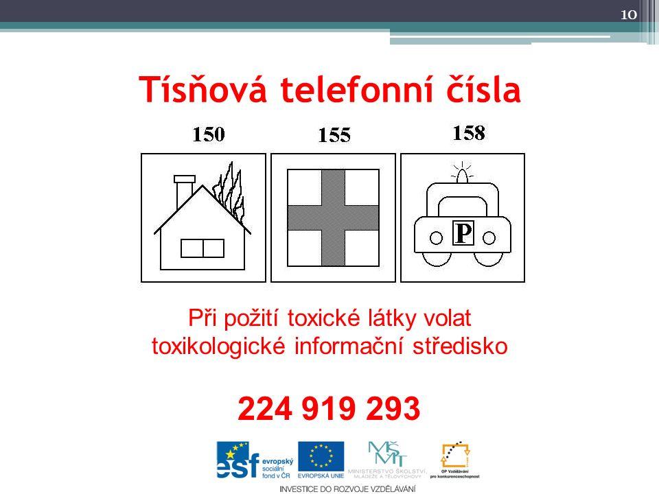 Tísňová telefonní čísla 10 Při požití toxické látky volat toxikologické informační středisko 224 919 293
