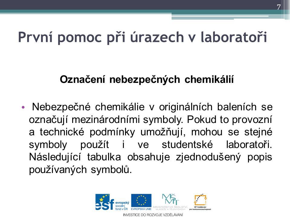 Označení nebezpečných chemikálií Nebezpečné chemikálie v originálních baleních se označují mezinárodními symboly.